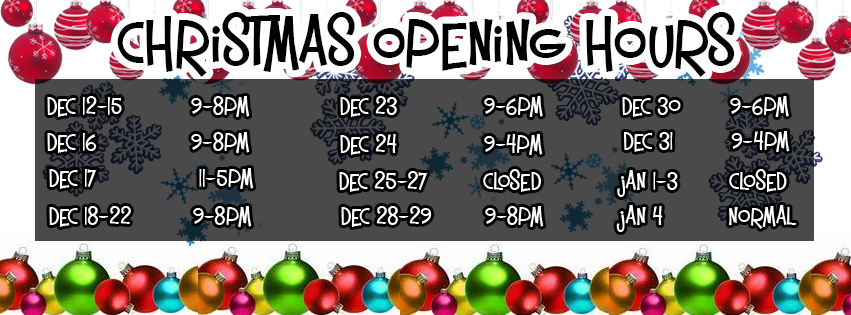 Christmas Opening Hours and Offers