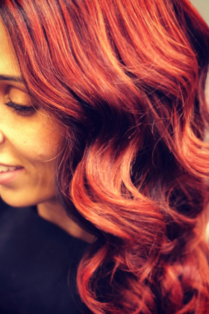 The result of Copper Red Balayage created by Salon-M Team