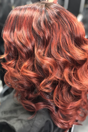 More of the Copper Red Balayage Curls created by the Salon-M Team