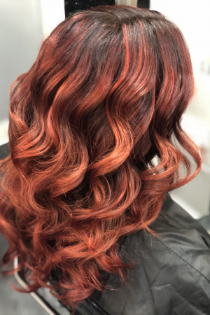 Gorgeous Copper Red Balayage Curls created by the Salon-M Team